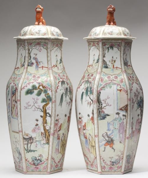 Pair of Chinese Export Porcelain Baluster Vases