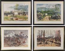 Four Prang Chromolithographs of Civil War Battles