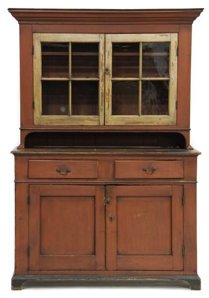 Pennsylvania Chippendale Painted Stepback Cupboard