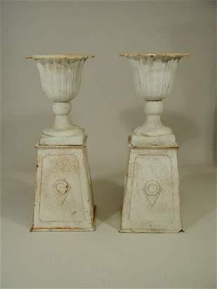 Pair of Cast Iron Urns,