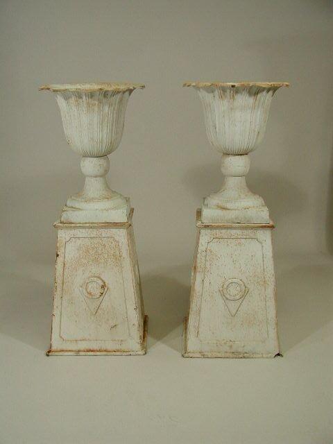 21: Pair of Cast Iron Urns,