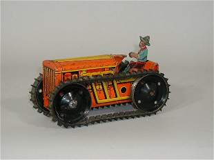 Tin Tractor w/Driver, by Marx,