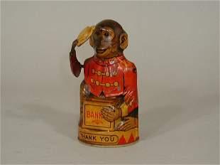"Monkey Bank, tin litho, ""J. Chein"","
