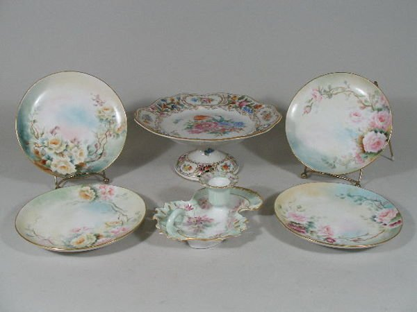 3004: Group Handpainted Porcelain and Dresden Compote,