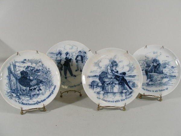 3006: Set of Four Blue and White Transferware Plates, c