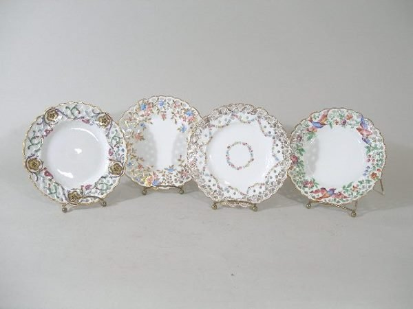 3018: Four Reticulated Creamware Dessert Plates,