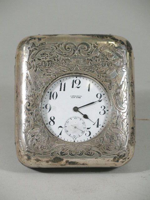 3020: Gorham Silver Pocket Watch/Desk Clock, c. 1920s,