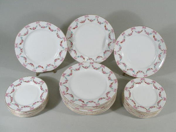 3024: Royal Worcester China w/Floral Swag Decoration,