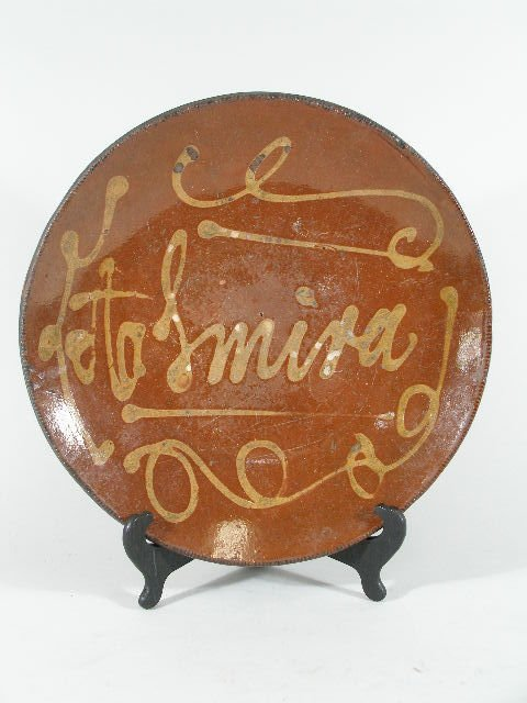 3065: Slip Decorated Redware Charger, 19th c.,