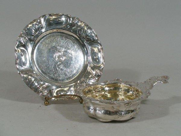 3138: Gorham Martelé Sterling Porringer and Plate,