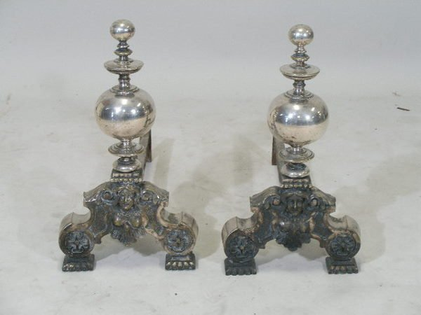 3176: Pair of Silver Plated Andirons, c. 1900,