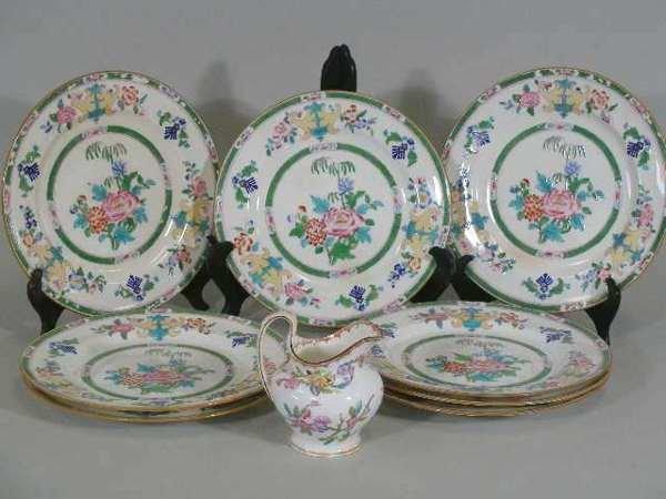 2: Set of Eight Minton Bone China Plates and Cream Jug,