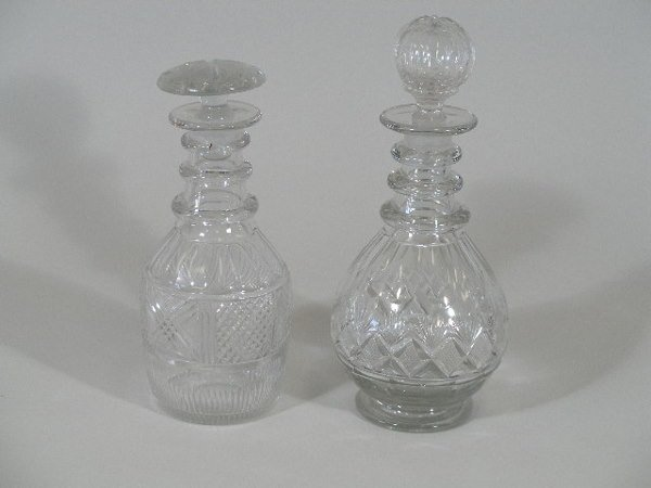 3: Two Clear Glass Decanters, English, Early 19th c.,