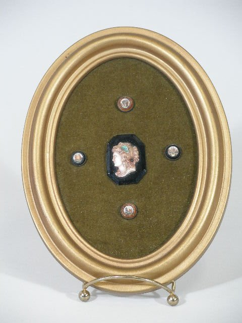 4: Four Micro-Mosaic Buttons and a Cameo-Like Brooch, c