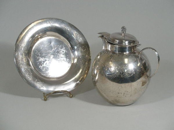 6: Colombian Silver Water Pitcher & Underplate, 20th c.