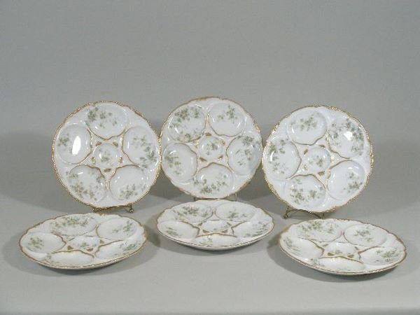 20: Set of Six Limoges Oyster Plates, c. 1890's,