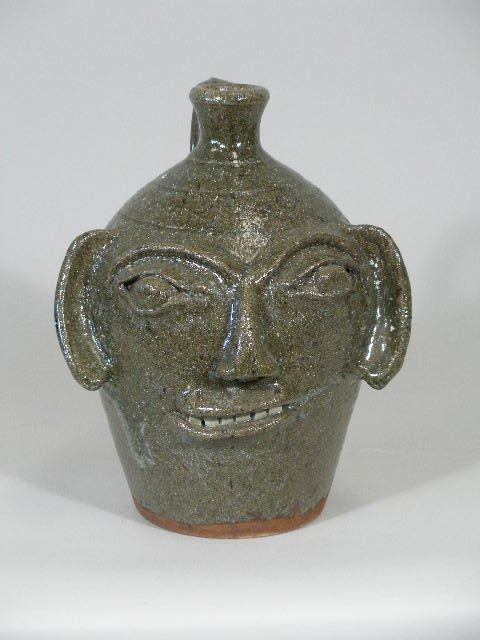 314: Western NC Pottery Face Jug, Burlon Cr