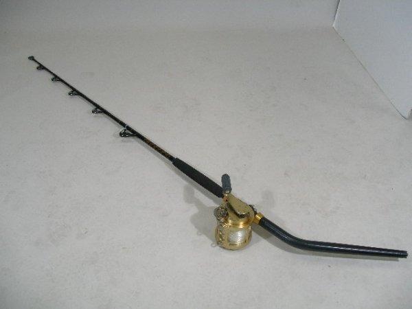 3: Fin-Nor 9A Deep Sea Brass Reel Serial #9A497 w/Bent