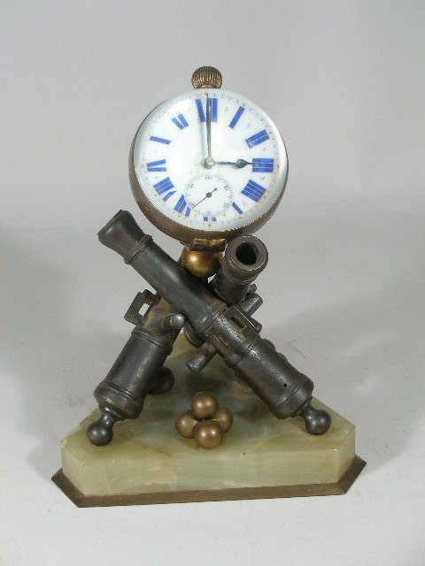 12: French Victorian Military Mantel Clock,
