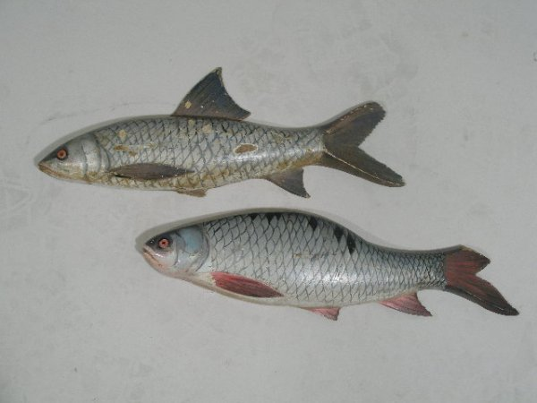 16: Two Folk Art Carved and Paint Decorated Wooden Fish