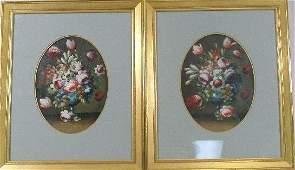 64: Pair of Oval Still Lifes, c. 1860, American School,