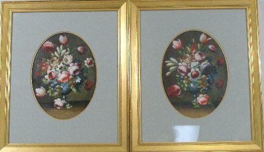 Pair of Oval Still Lifes, c. 1860, American School,