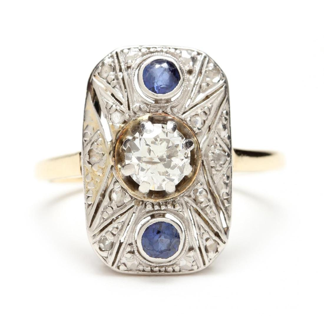 Art Deco Platinum Topped Gold Diamond and Sapphire Ring