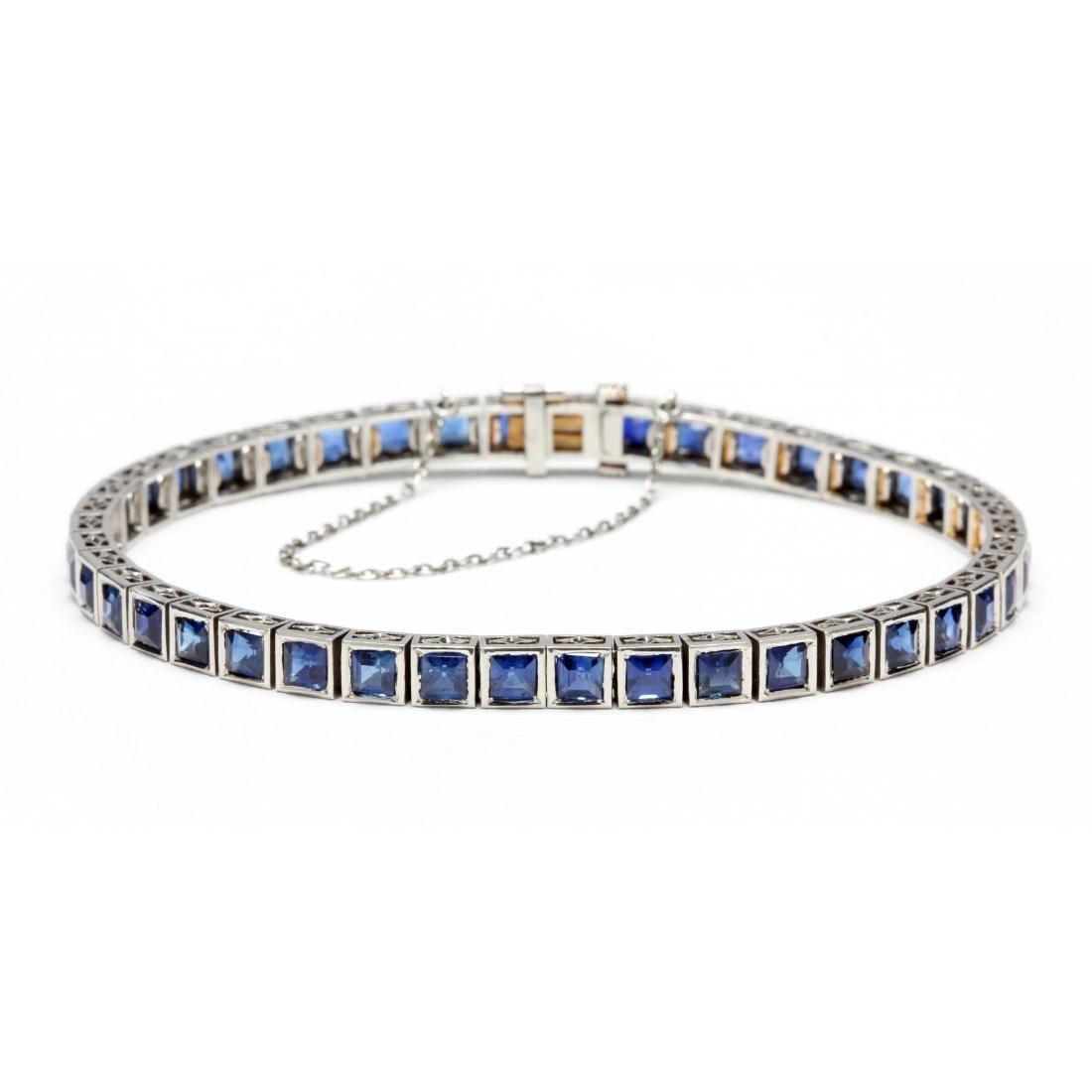 Art Deco Platinum and Sapphire Bracelet