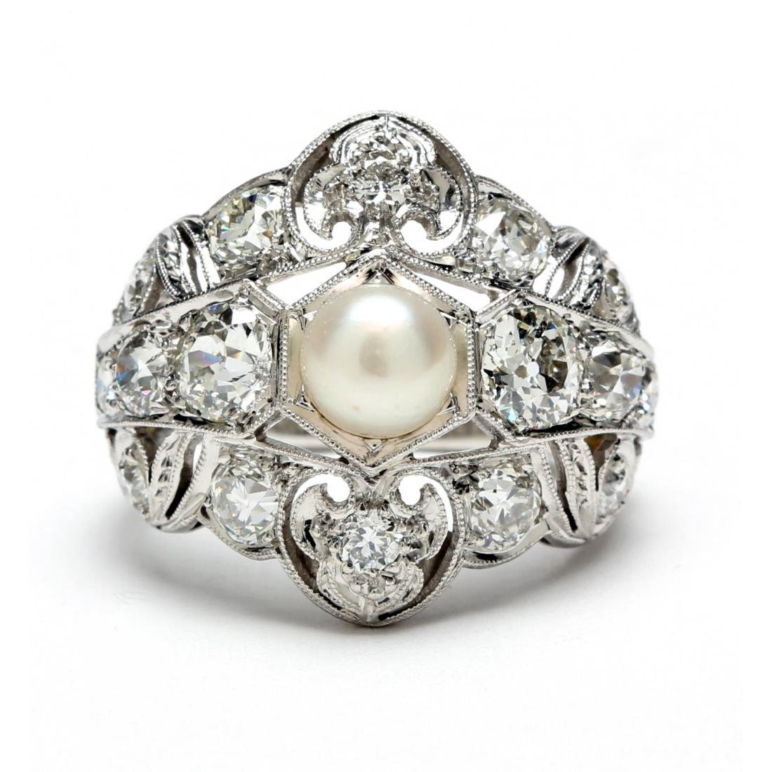Art Deco Platinum, Diamond and Pearl Ring