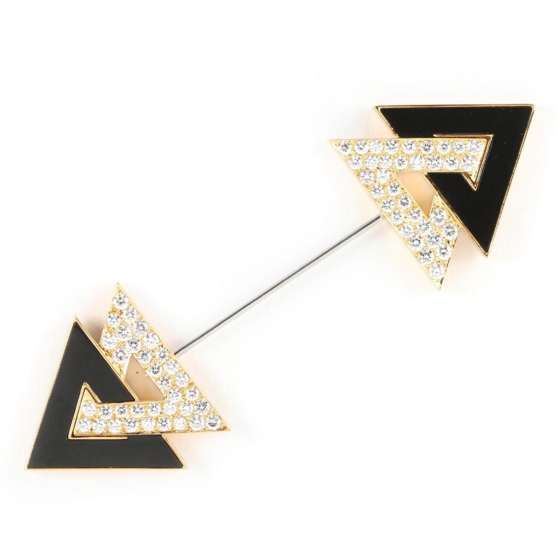 18KT Diamond and Onyx Brooch, Keil