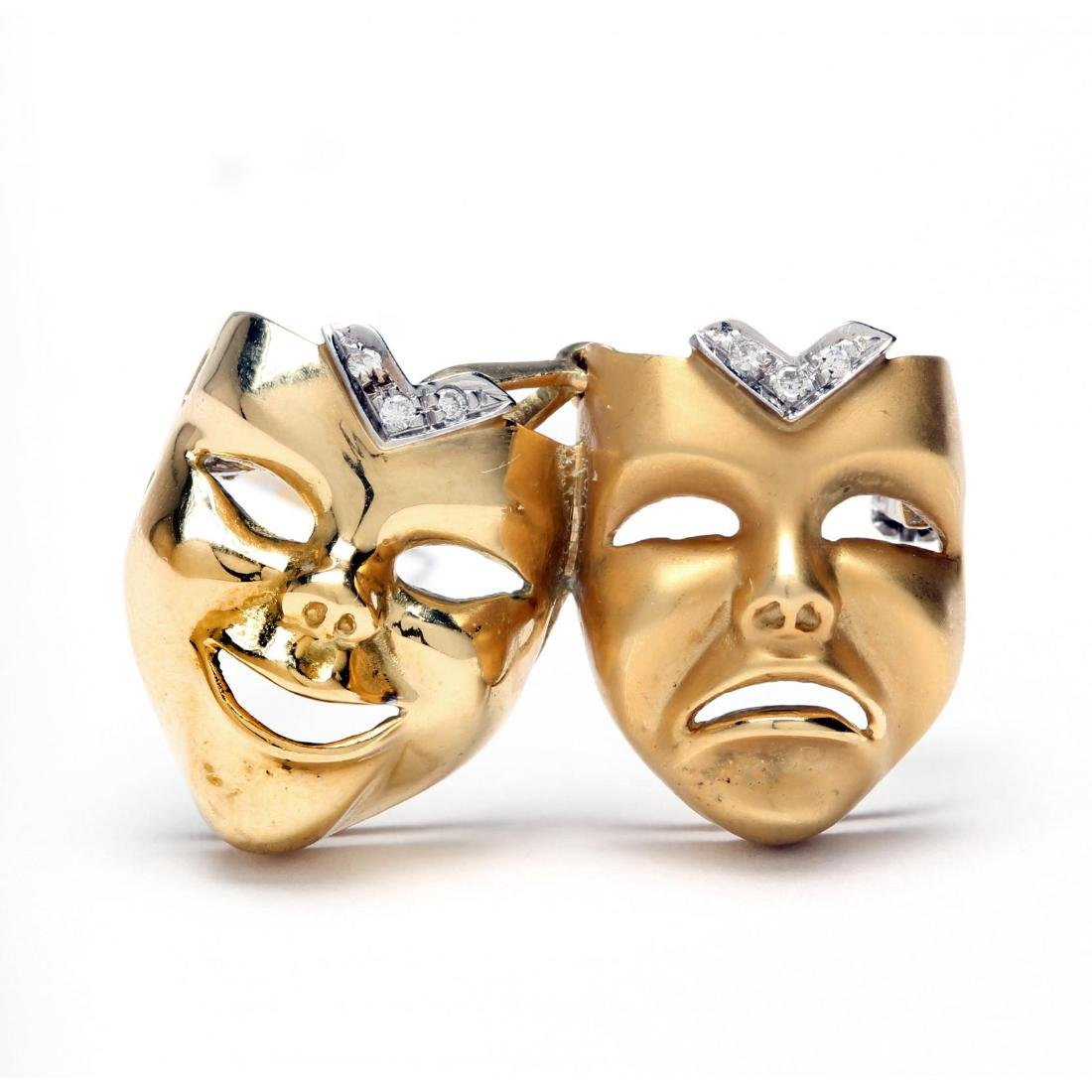18KT Gold and Diamond Mask Brooch / Pendant, Italy