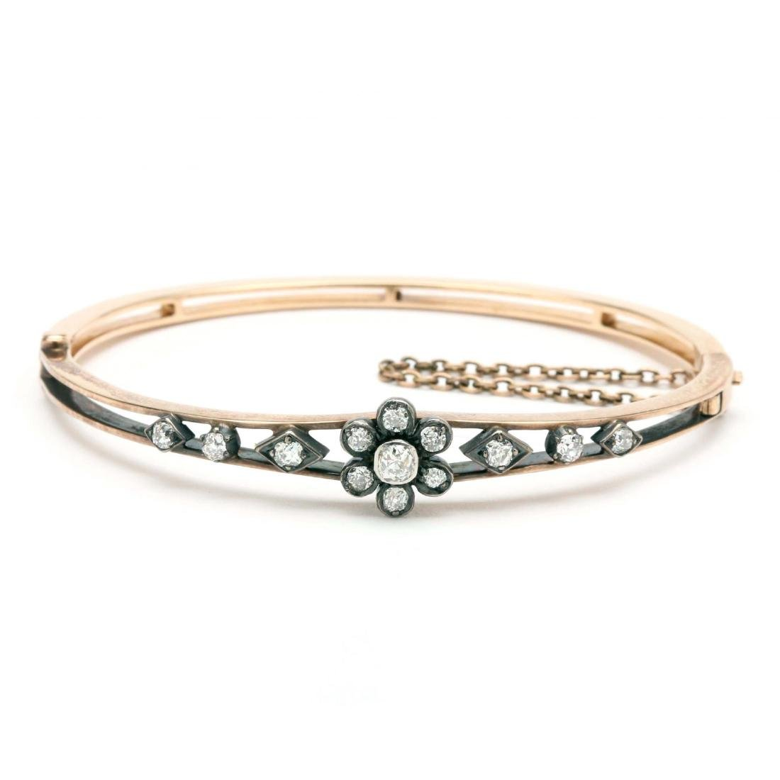 Victorian 14KT Diamond Bangle Bracelet