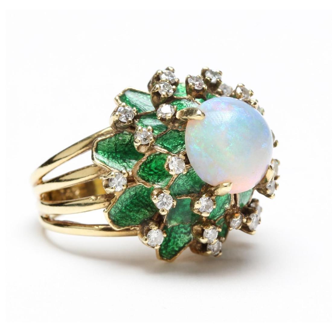 14KT Opal, Diamond, and Enamel Ring