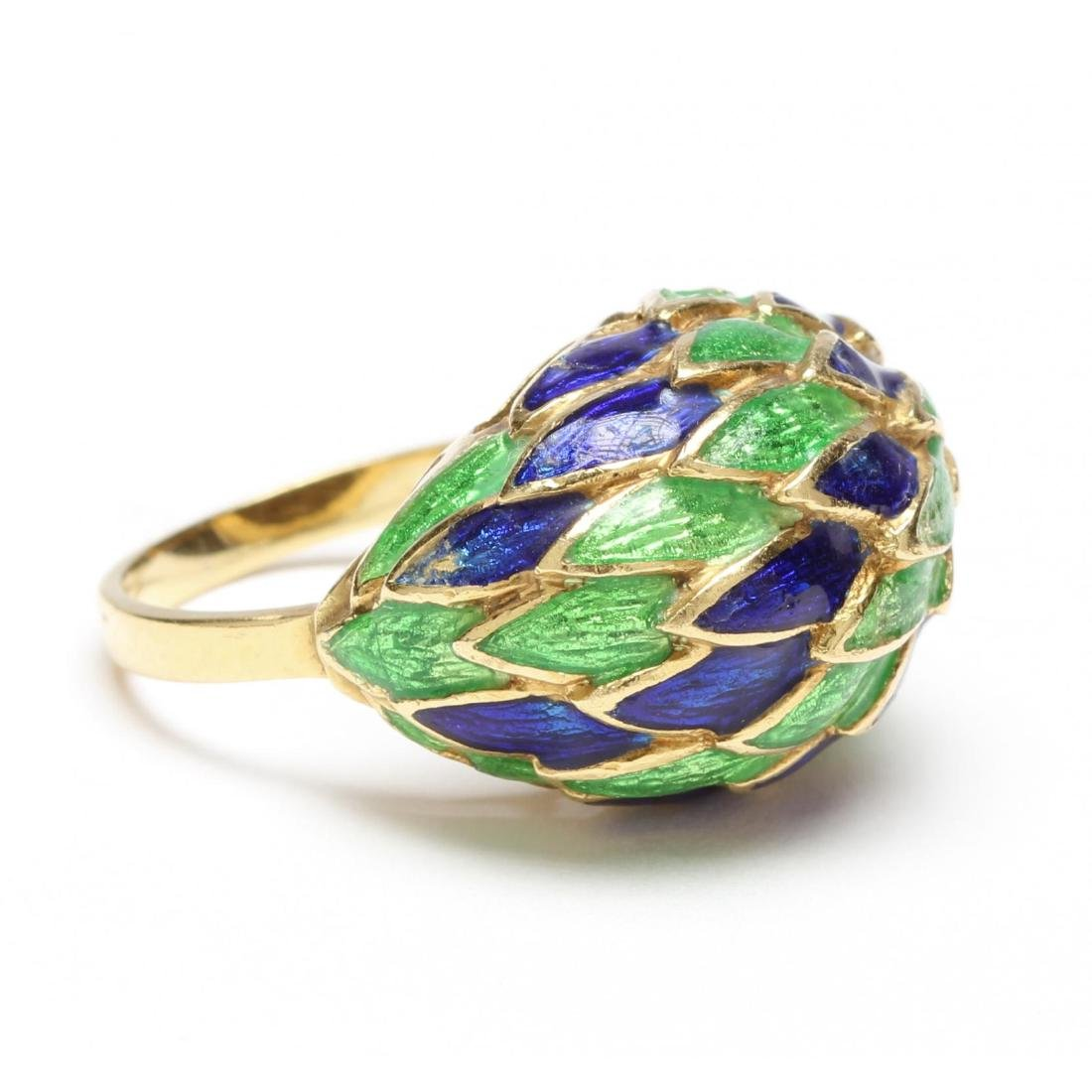 18KT Gold and Polychrome Enamel Ring, Seymour Moss