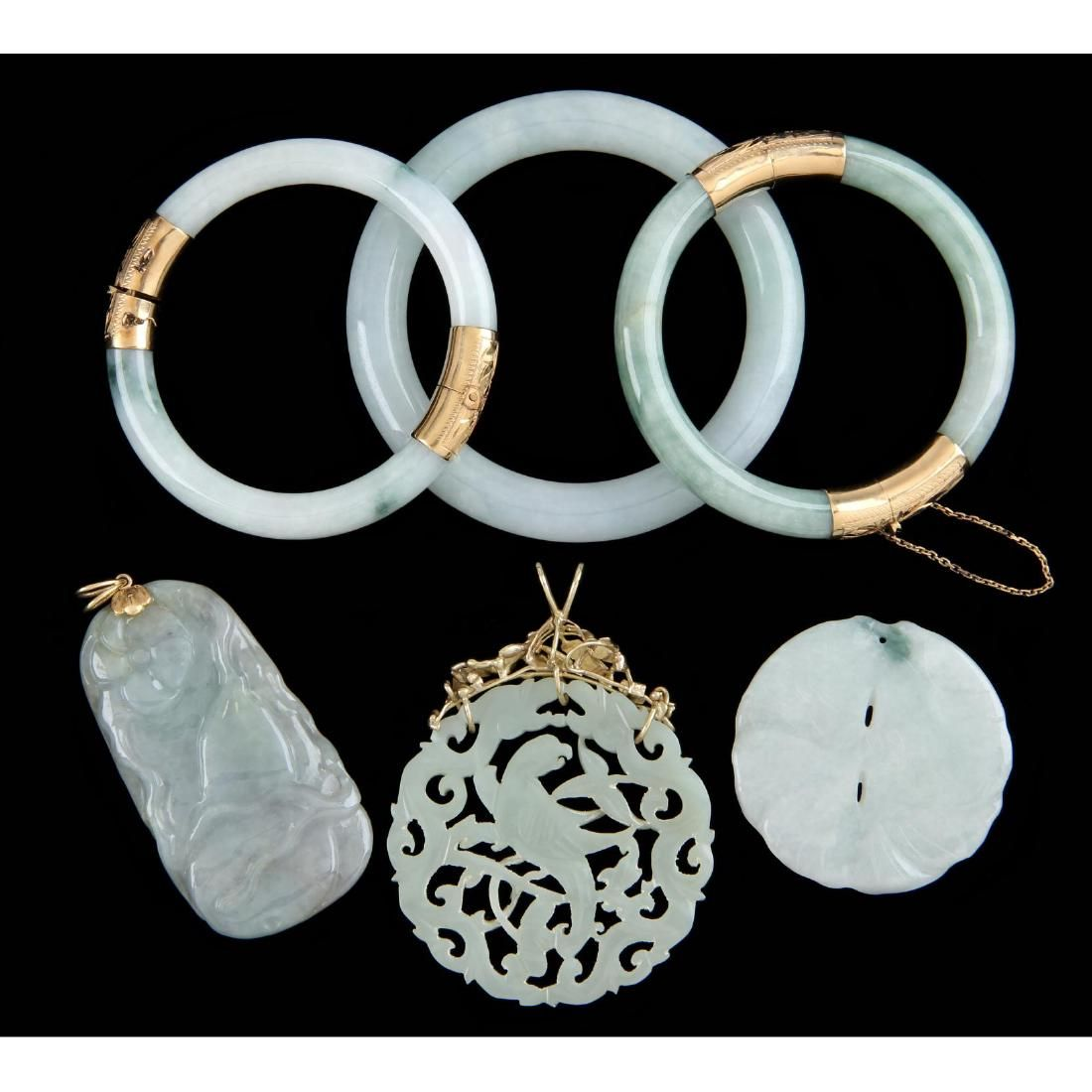 Group of Six Pieces Chinese Jade Jewelry
