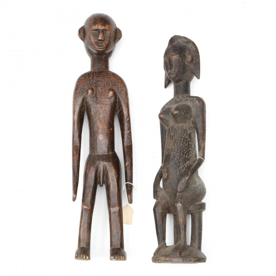 Two Bambara Carved Wooden Figures