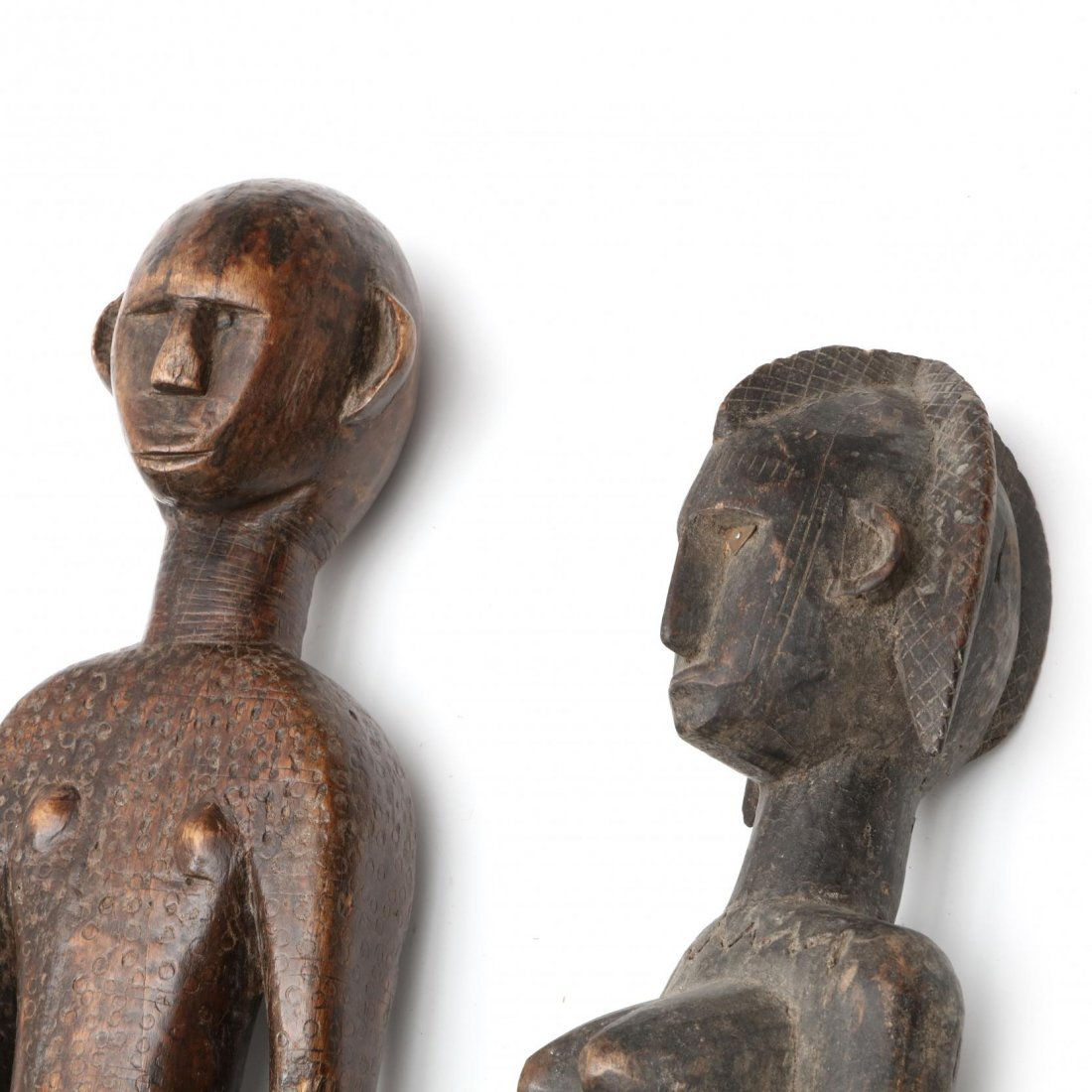 Two Bambara Carved Wooden Figures - 2