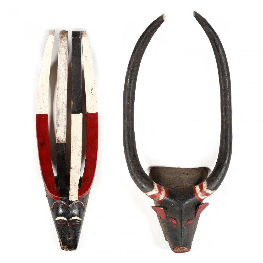 Ivory Coast, Two Baule Guro Animal Masks