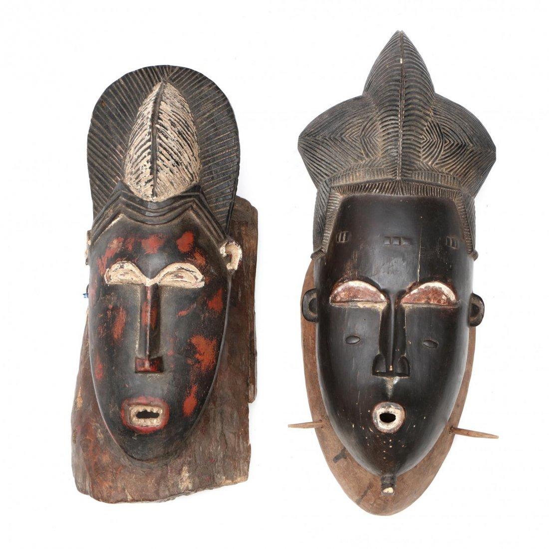 Two Painted Ivory Coast Baule Guro Masks