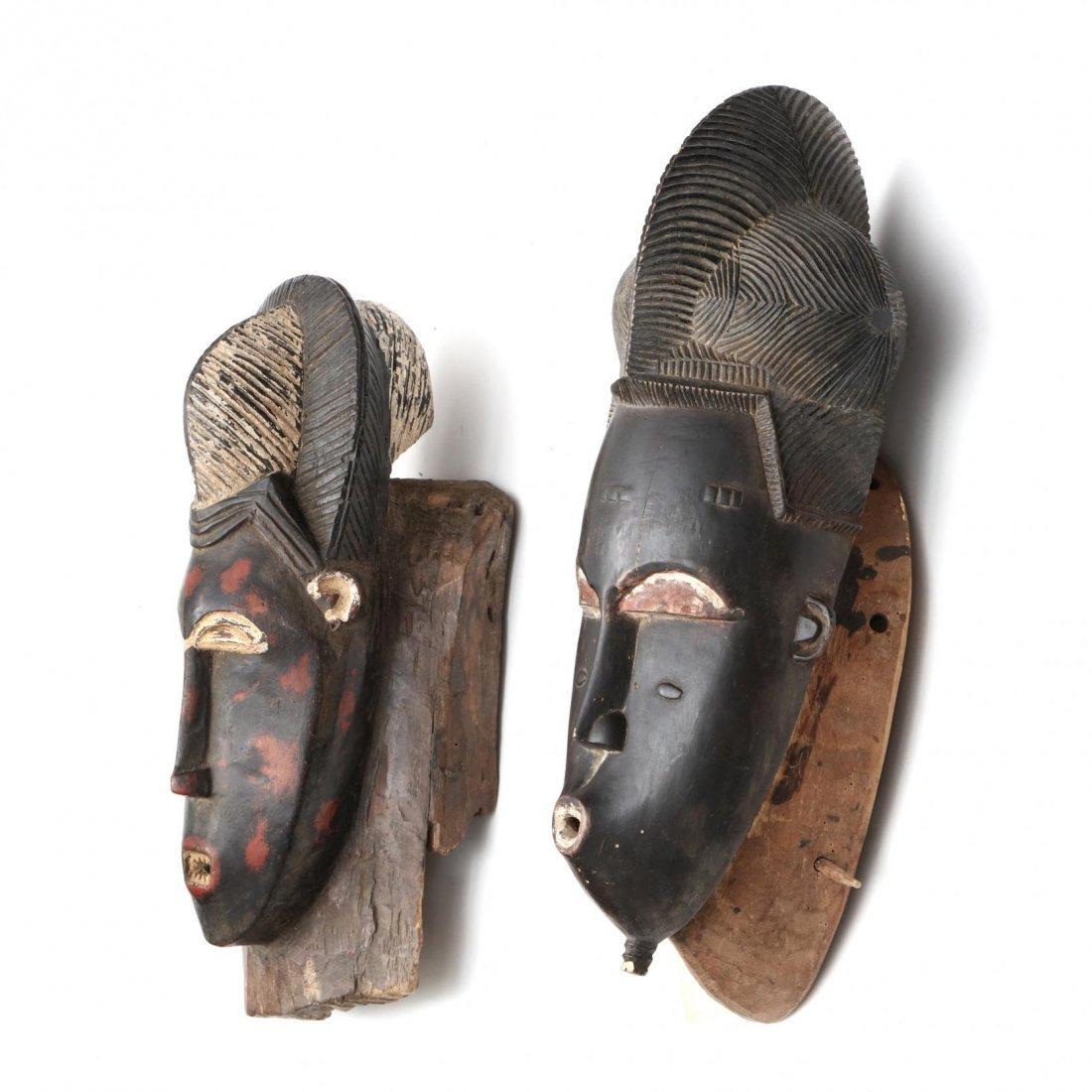 Two Painted Ivory Coast Baule Guro Masks - 2