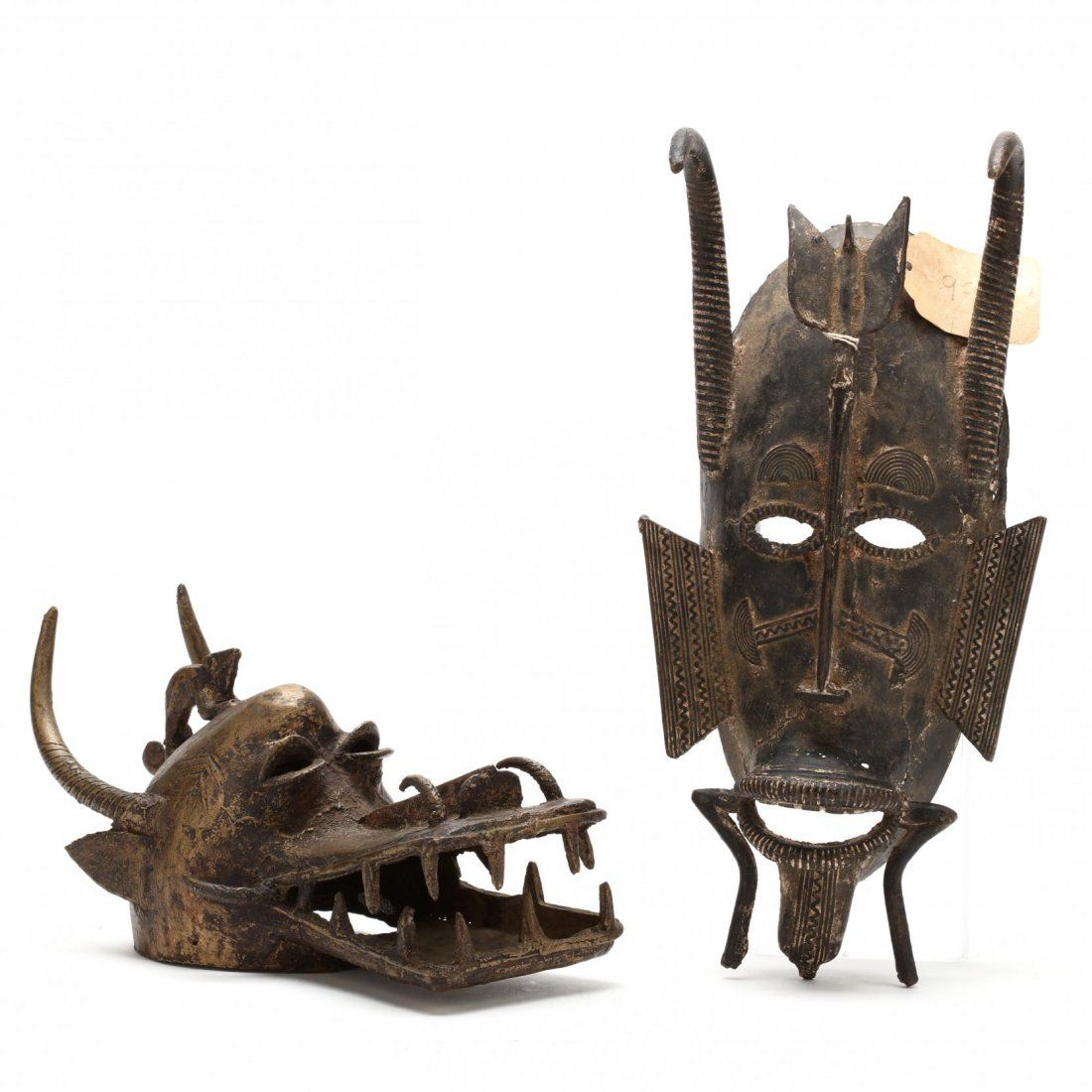 Ivory Coast, Two Senufo Bronze Masks
