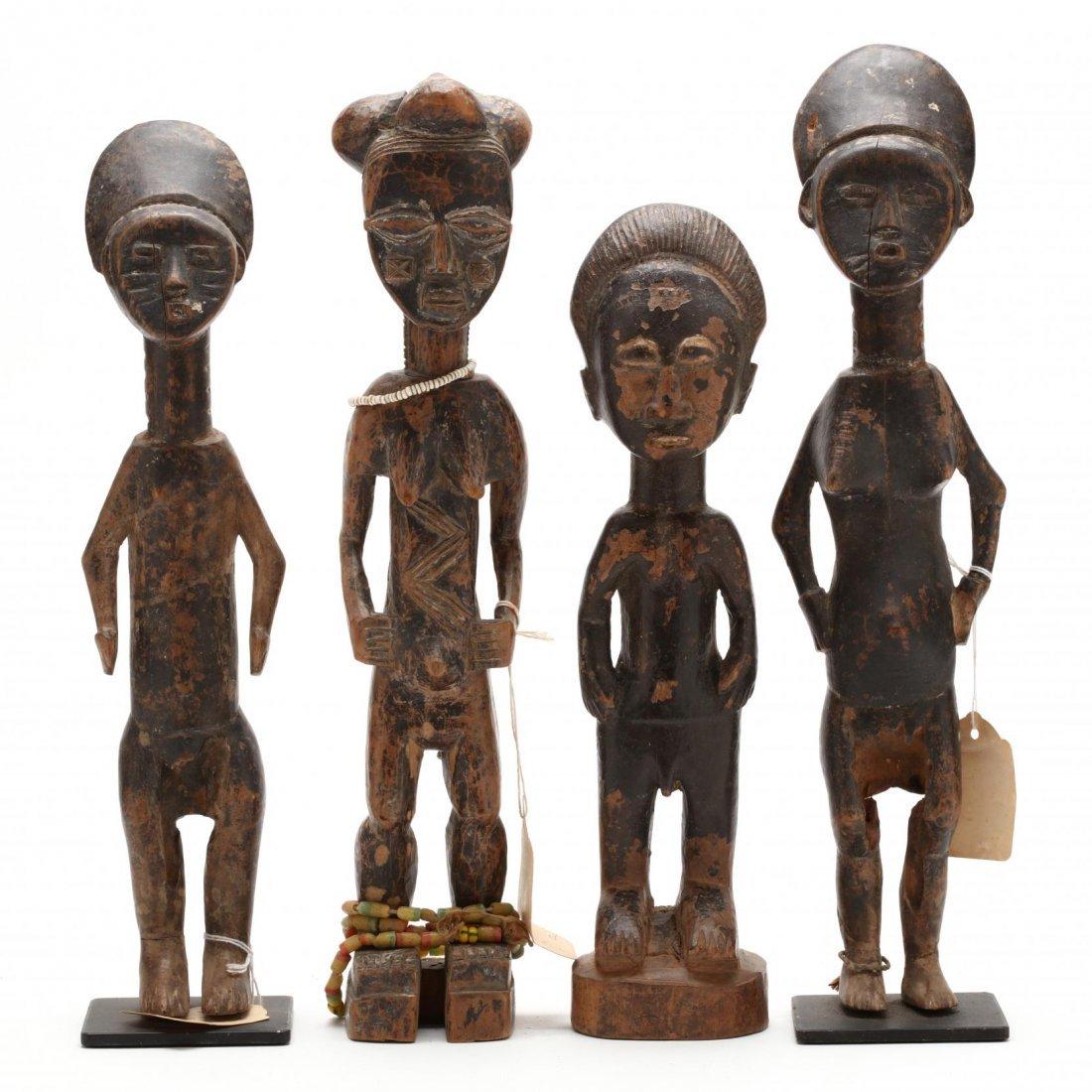 Ivory Coast or Ghana, Four Abron Ancestral Figures