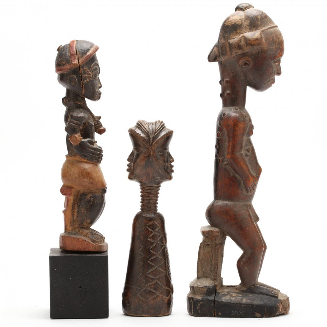 Three West African Figural Wood Carvings - 2