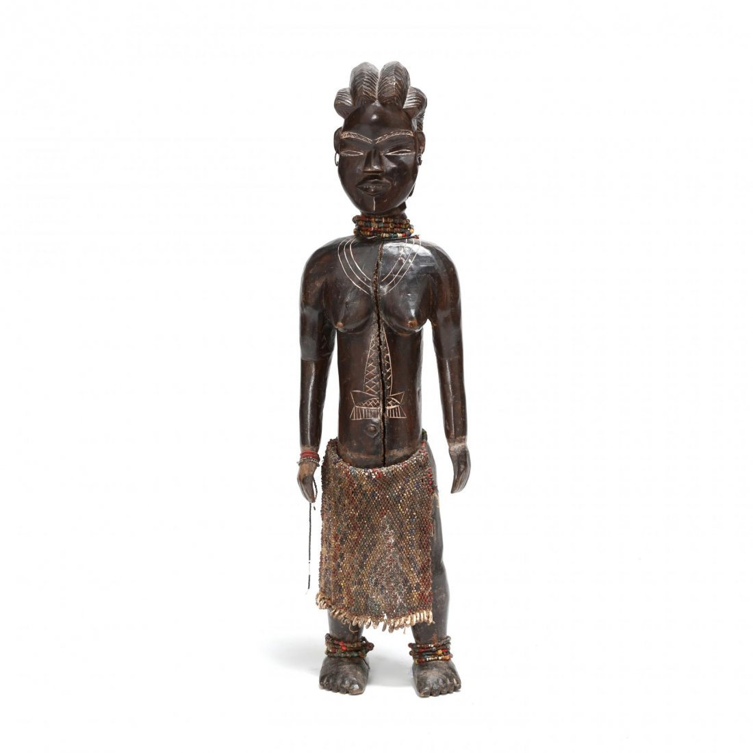 West African Carved Wood Female Figure