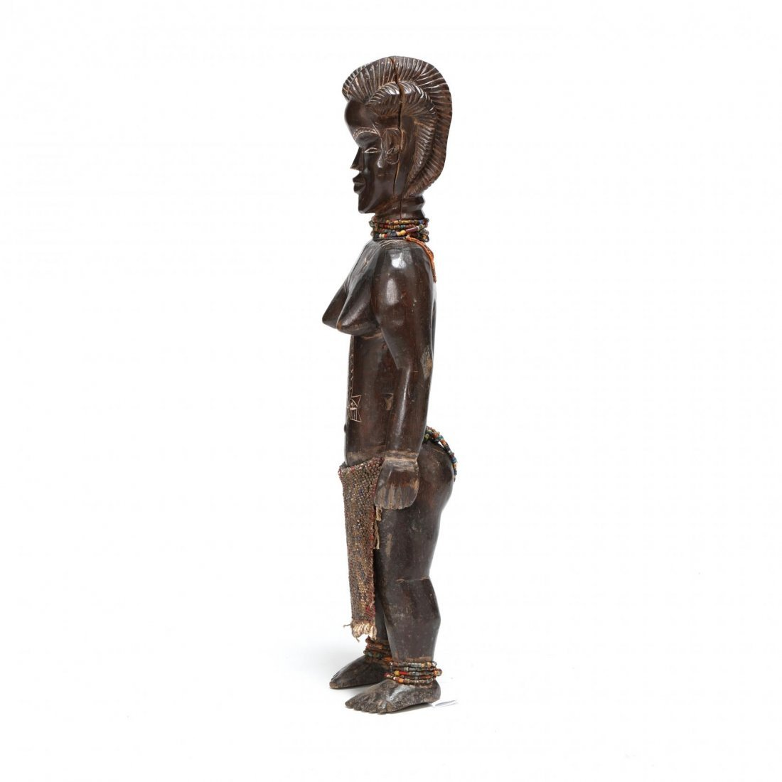 West African Carved Wood Female Figure - 2