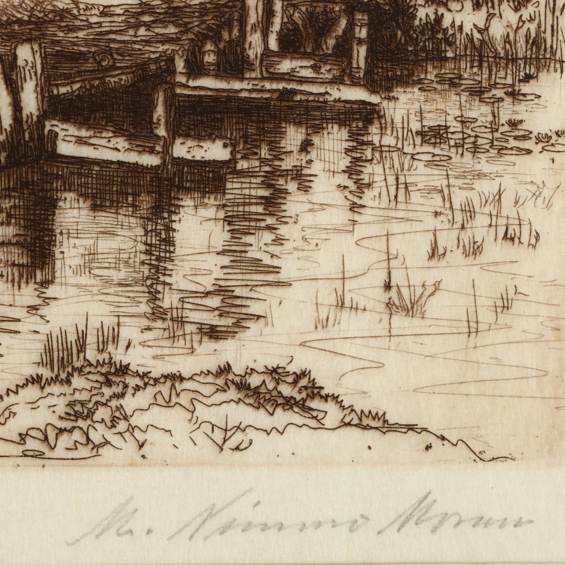 Two 19th-Century Landscapes - Moran and Harpignies - 3