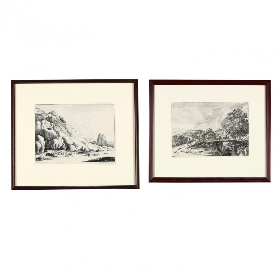 Pair of Continental Landscapes Picturing Cattle and