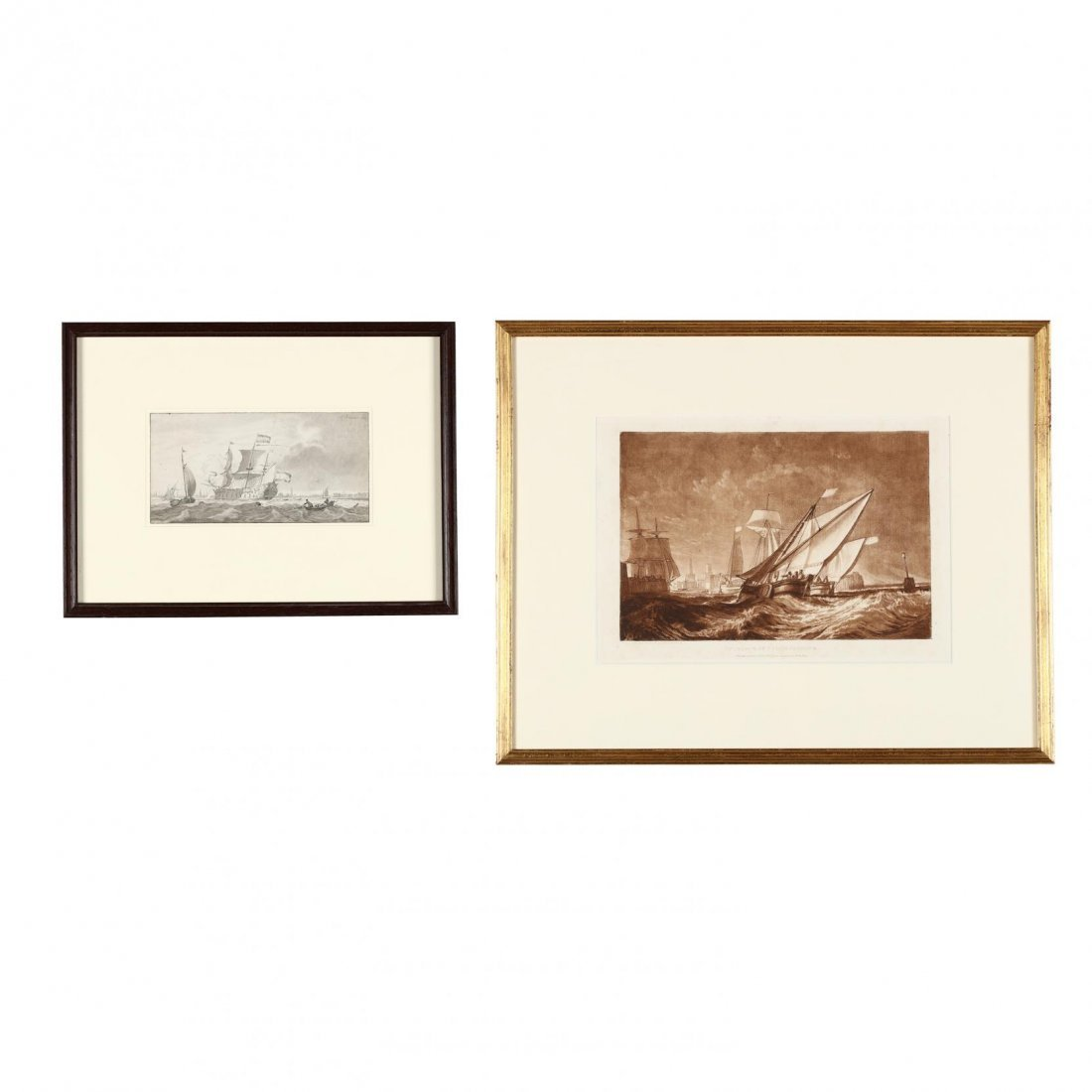 Two Antique Prints Picturing Sailing Vessels - Turner