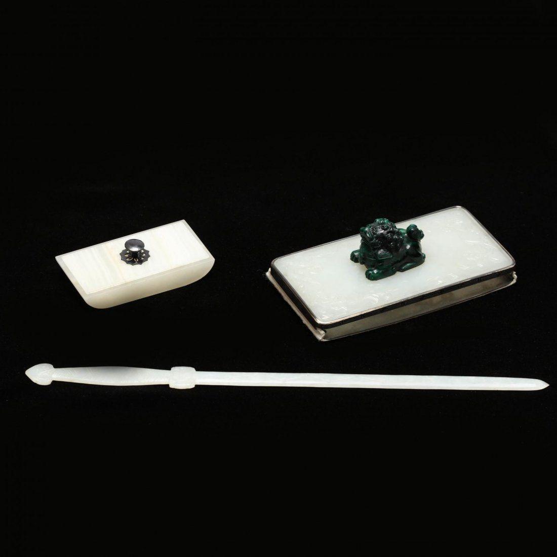 Three Piece Jade and Hard Stone Desk Set
