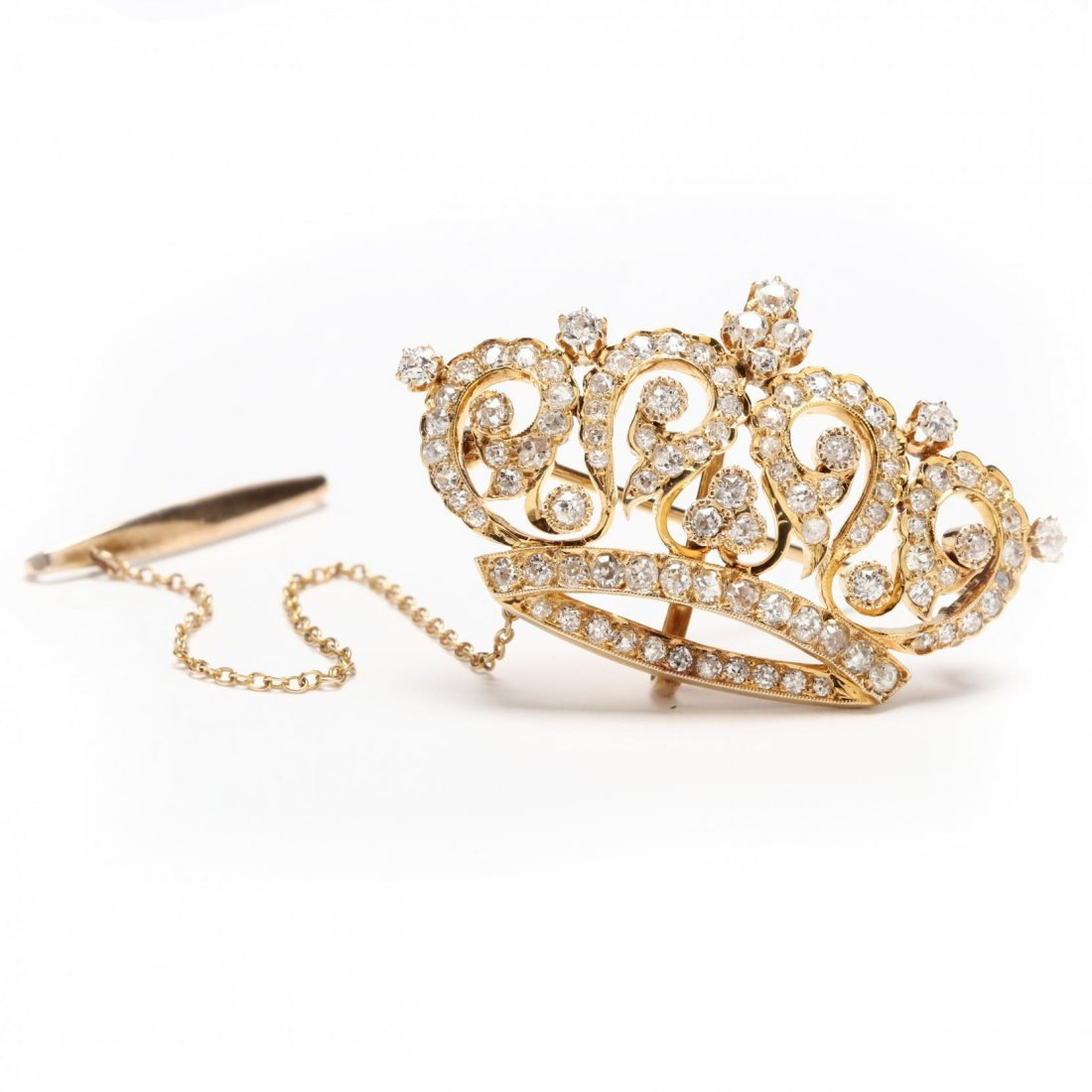 14KT Gold and Diamond Crown Brooch